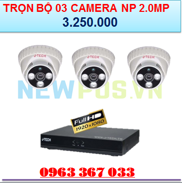 Trọn bộ 03 Camera an ninh J Tech - 2.0MP - Newpos