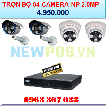 Trọn bộ 04 Camera an ninh J Tech - 2.0MP - Newpos